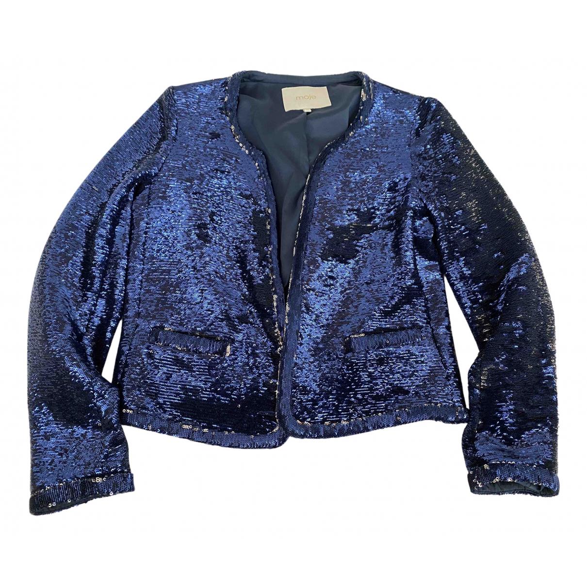 Maje N Blue Glitter jacket for Women 38 FR