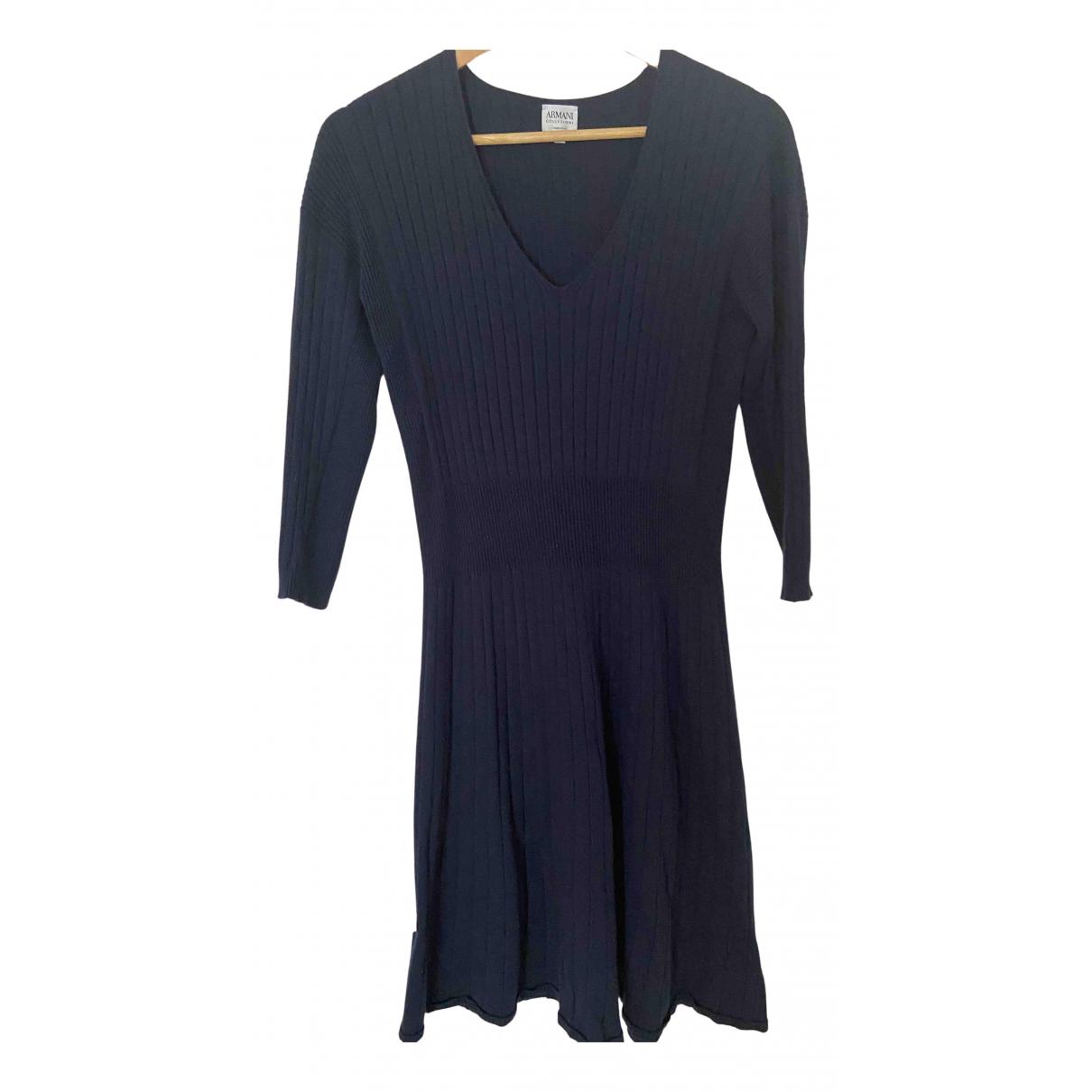 Armani Collezioni - Robe   pour femme en coton - marine
