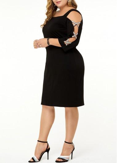 Women'S Plus Size Little Black Casual Dress Strappy Criss Cross Sleeve Sheath Knee Length Three Quarter Sleeve Dress By Rosewe - 2X