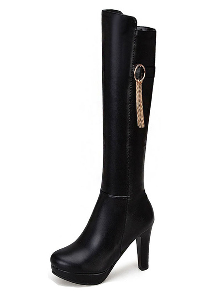 Milanoo Platform Knee High Boots Womens PU Chains Round Toe Chunky Heel Winter Boots
