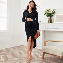 Maternity Surplice Neck Asymmetrical Hem Solid Dress