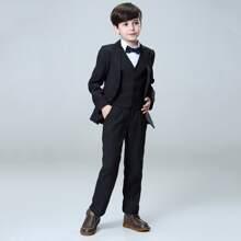Toddler Boys Button Front Vest With Blazer & Pants Set