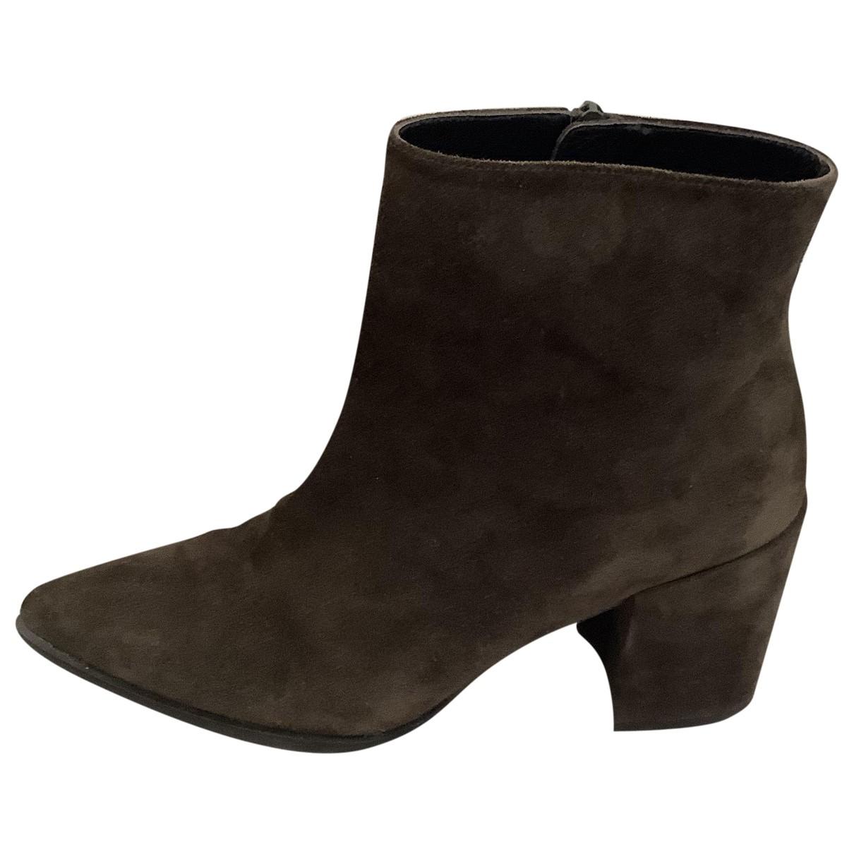 Stuart Weitzman - Boots   pour femme en suede - kaki