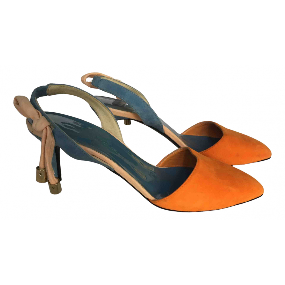 Oscar De La Renta N Orange Suede Heels for Women 37 IT