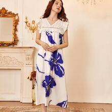 Floral Print Eyelet Embroidered Satin Night Dress