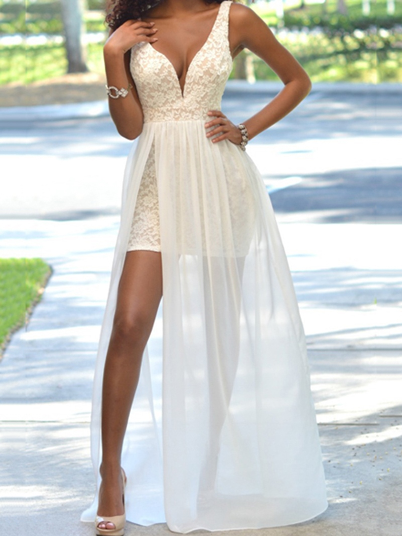 Ericdress A-Line V-Neck Lace Split-Front Brush Train Prom Dress