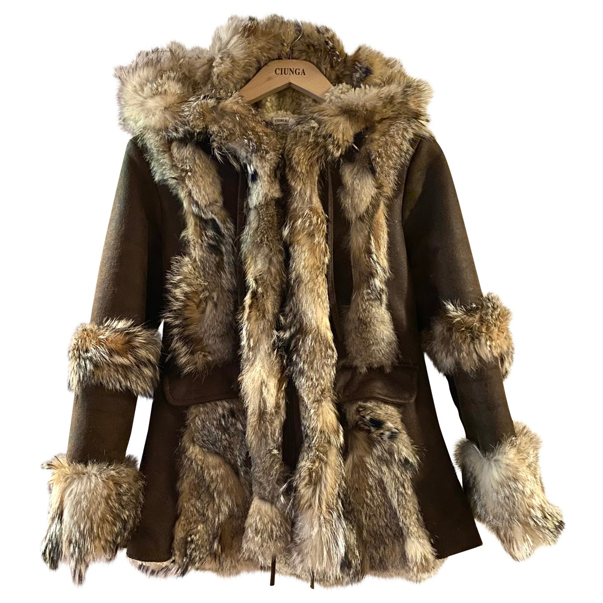 Non Signé / Unsigned N Brown Fur coat for Women 6 UK