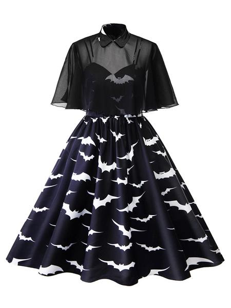 Milanoo Vestido vintage de talla grande Vestido con estampado de murcielago negro con capa