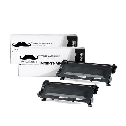Compatible Brother TN450 Black Toner Cartridge High Yield by Moustache, 2 Pack