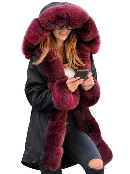 Milanoo Puffer Coats Burgundy Hooded Zipper Long Sleeves Outerwear