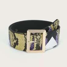 Snakeskin Pattern Metal Buckle Belt