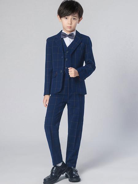 Milanoo Trajes de portador de anillo Poliester Algodon Mangas largas Corbata Abrigo Chaleco Camisa Pantalones Azul marino oscuro Trajes de boda para n
