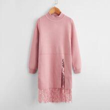 Pullover Kleid mit Schlitz, Kontrast Spitze und Bogenkante