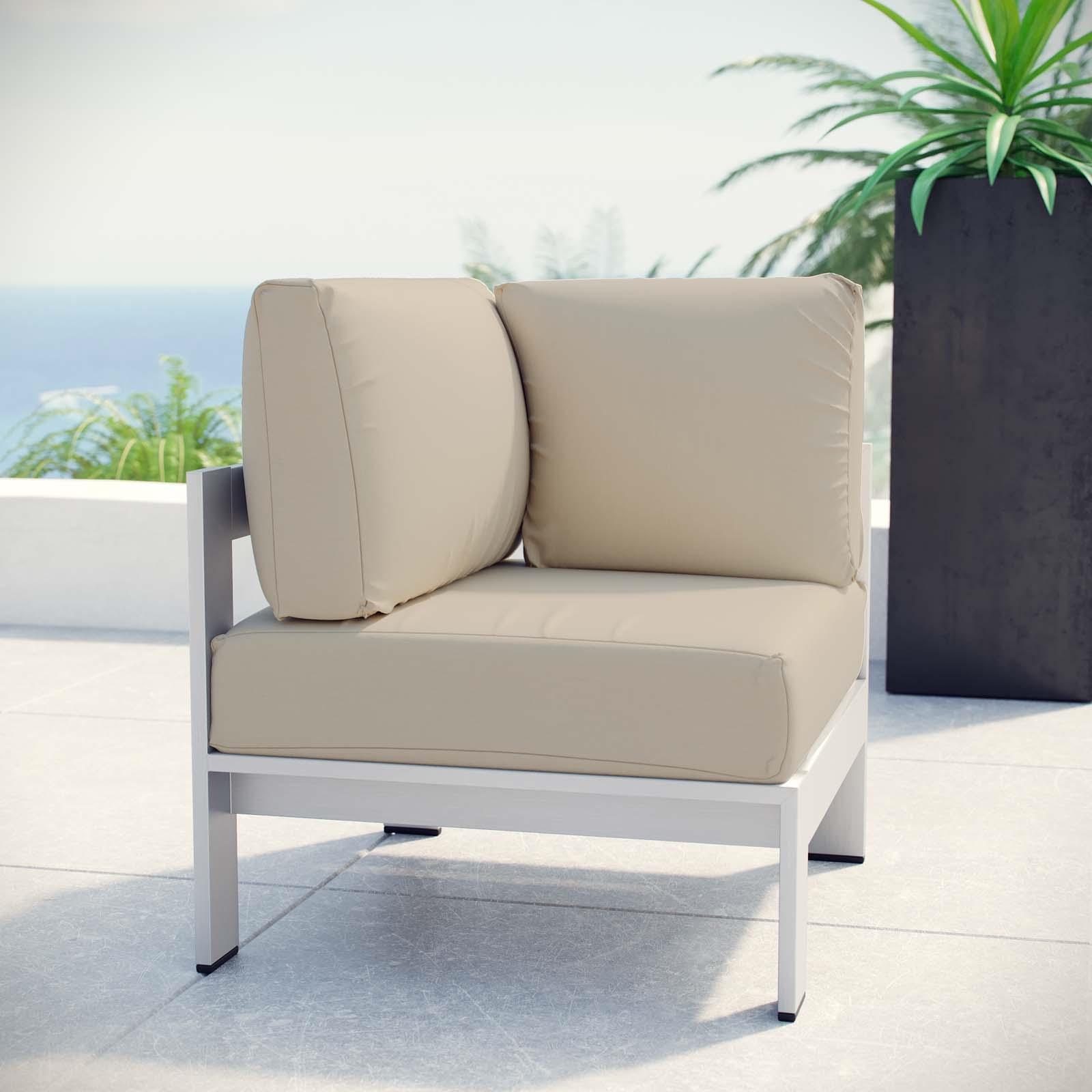 Shore Outdoor Patio Aluminum Corner Sofa in Silver Beige