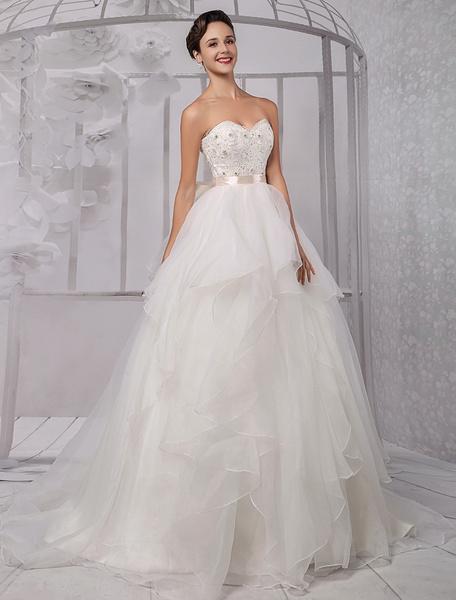 Milanoo Vestido de novia de organza con escote en corazon y cuentas