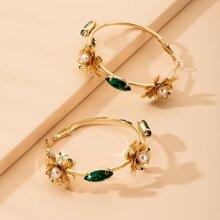 Floral Decor Hoop Earrings