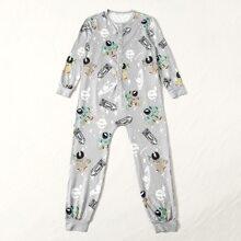 Mono de pijama con boton con estampado de planta
