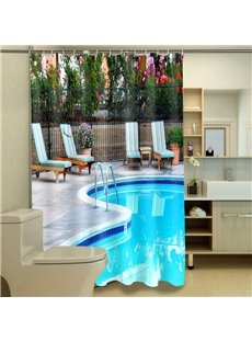 High Class Graceful Swimming Pool 3D Shower Curtain