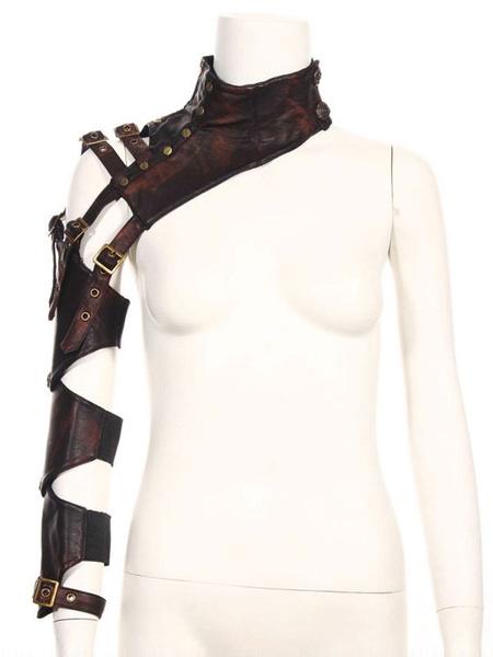 Milanoo Steampunk Armwear Bolero Retro PU Leather Buckle Performance Props Accessories Halloween