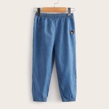 Kleinkind Jungen Jeans mit Baer Stickereien und elastischer Taille
