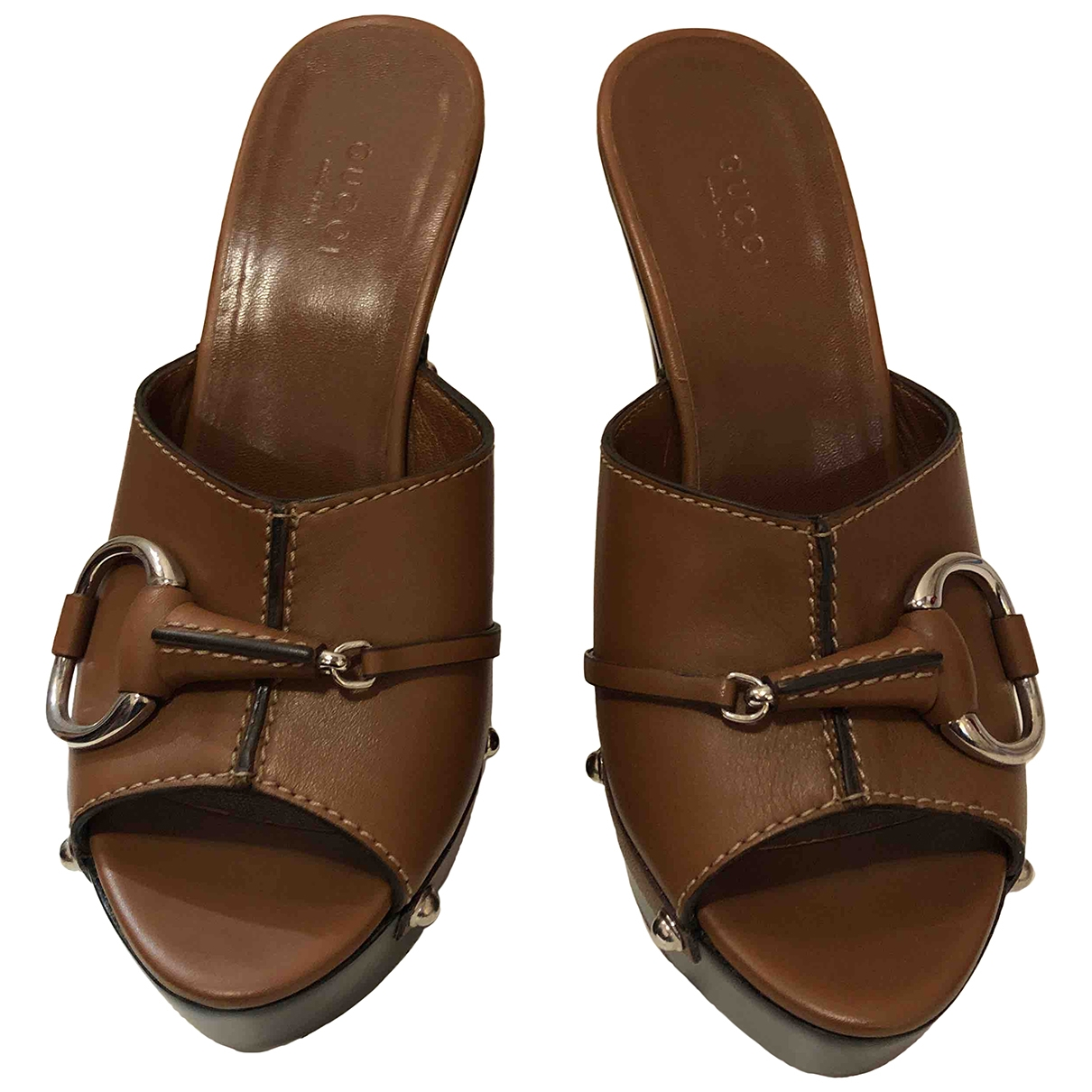 Gucci \N Camel Leather Mules & Clogs for Women 36 EU