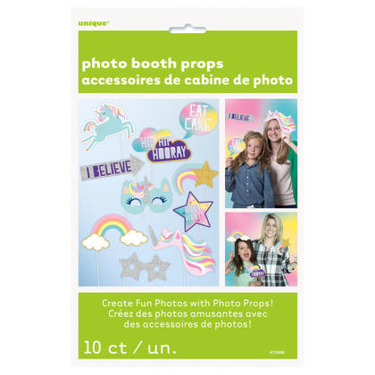 Foil Unicorn Photo Booth Props, 10Pcs/Pack For Birthday Party