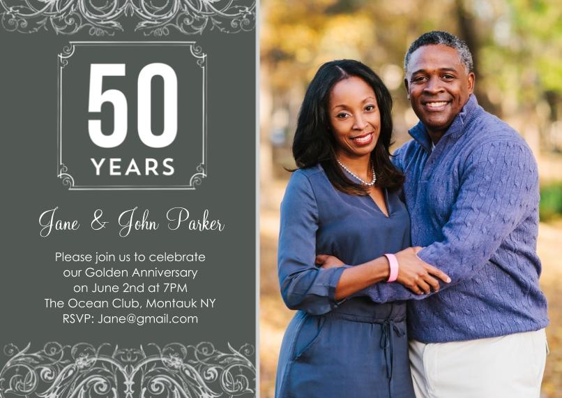 Anniversary Invitations 5x7 Cards, Standard Cardstock 85lb, Card & Stationery -Anniversary 50 Years Swirls Photo