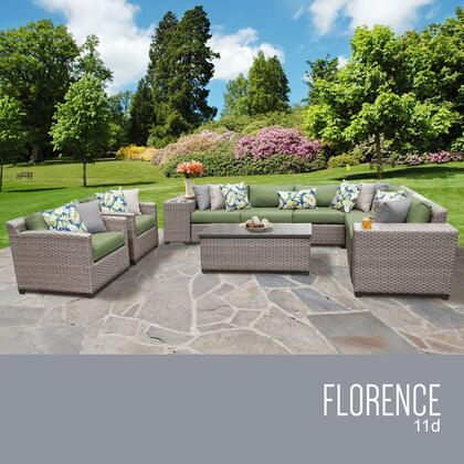 FLORENCE-11d-CILANTRO Florence 11 Piece Outdoor Wicker Patio Furniture Set 11d with 2 Covers: Grey and