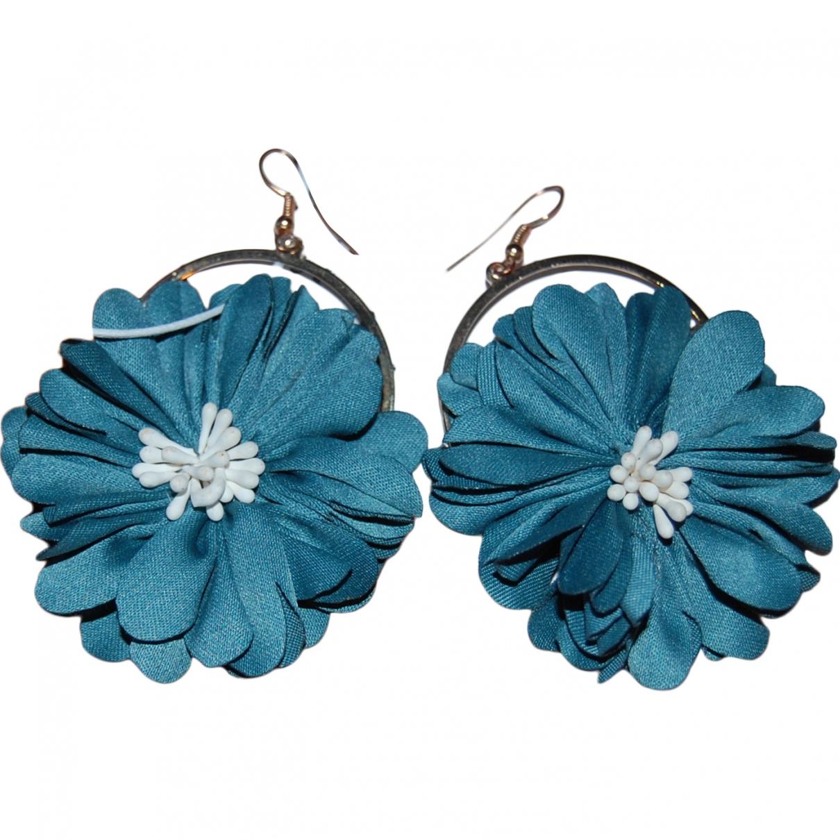 - Boucles doreilles Motifs Floraux pour femme en toile - turquoise