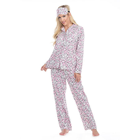 White Mark Womens Pant Pajama Set 3-pc. Long Sleeve, Large , Gray