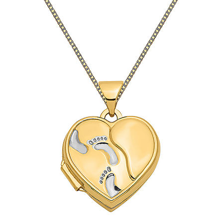 Womens 14K Gold Heart Locket Necklace, One Size , No Color Family
