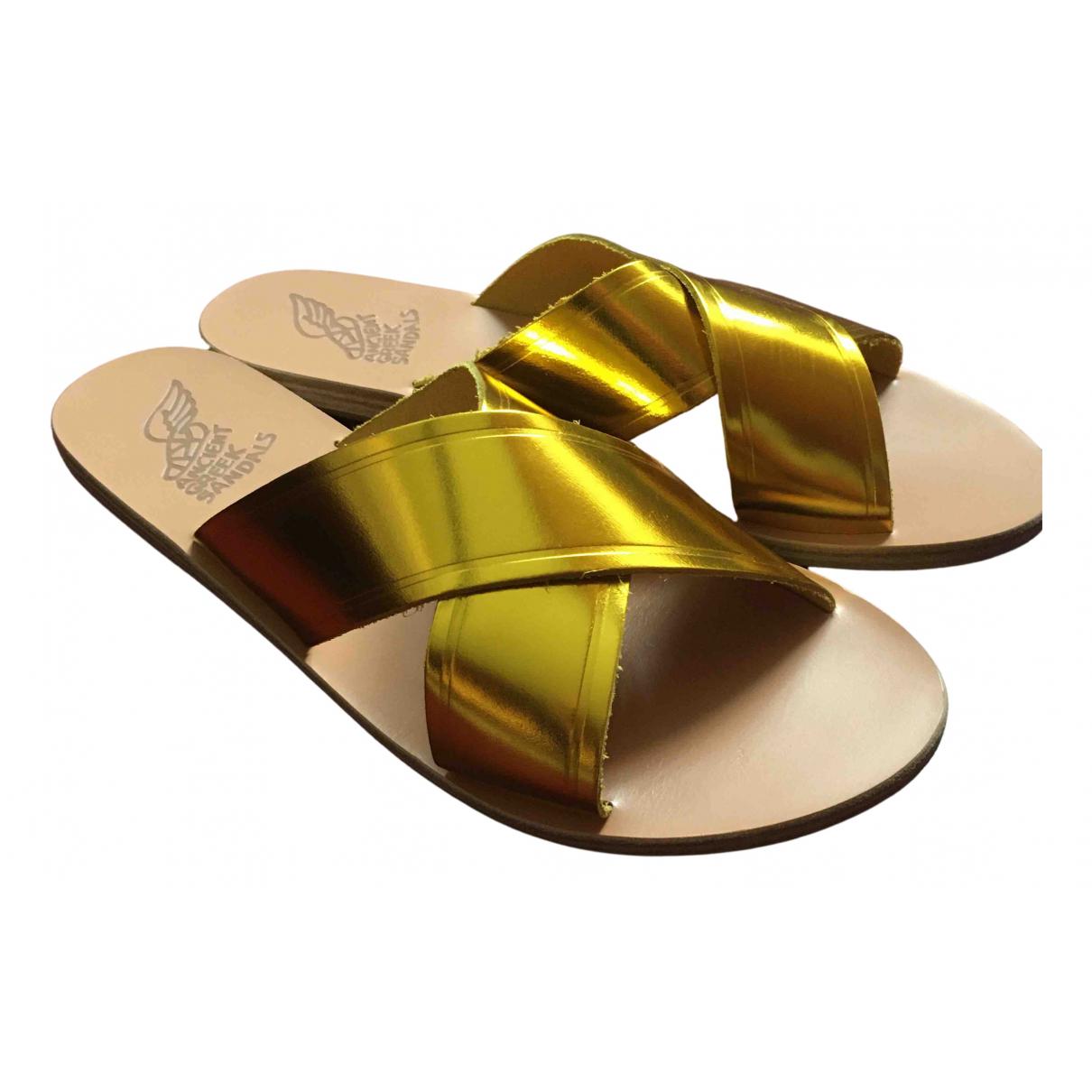 Ancient Greek Sandals \N Sandalen in  Gold Leder