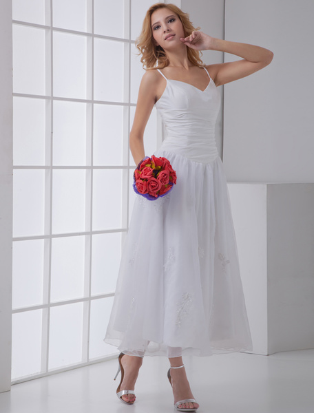 Milanoo Simple Wedding Dresses White A-line Spaghetti Strap Applique Organza Bridal Dress