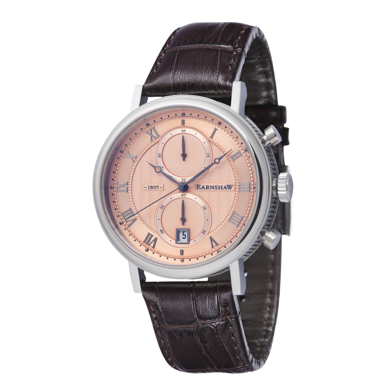 Thomas Earnshaw Men's Beaufort Chronograph ES-8100-03 Brown Leather Quartz Fashion Watch