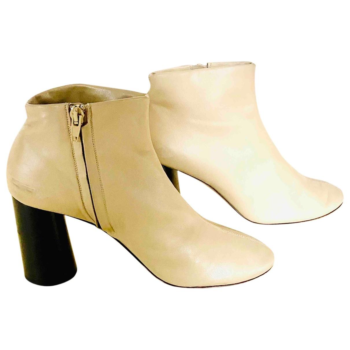 Celine - Boots   pour femme en cuir - beige