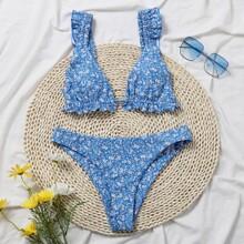 Dreieckiger Bikini Badeanzug mit Gaensebluemchen Muster und Rueschen