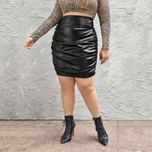 Plus Ruched PU Leather Skirt
