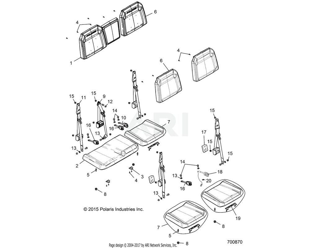 Polaris OEM 2686293 CVR-SEAT BACK, 60, DK.STL/WHT | [E87AM][E87BM]