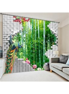 3D Peacocks with Bamboo Forest Printed Modern Style Decorative Custom Curtain