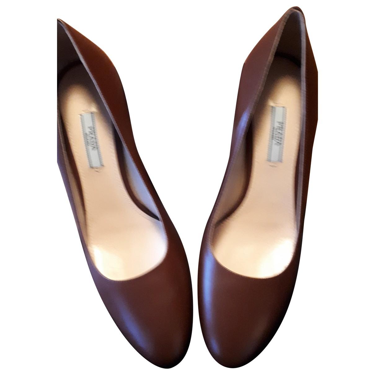 Prada N Brown Leather Heels for Women 39 IT