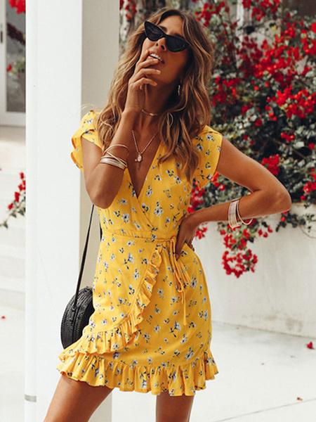 Milanoo Floral Summer Dresses Women Tea Dress V Neck Ruffles Short Sleeves Yellow Mini Dress Sundress