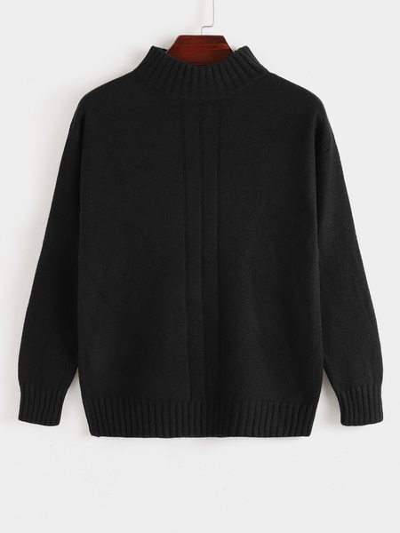 Yoins Men Autumn Winter Roll Neck Solid Color Casual Knitted Sweater
