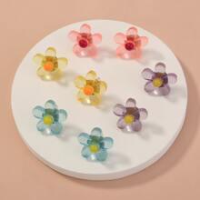 4pairs Flower Design Stud Earrings