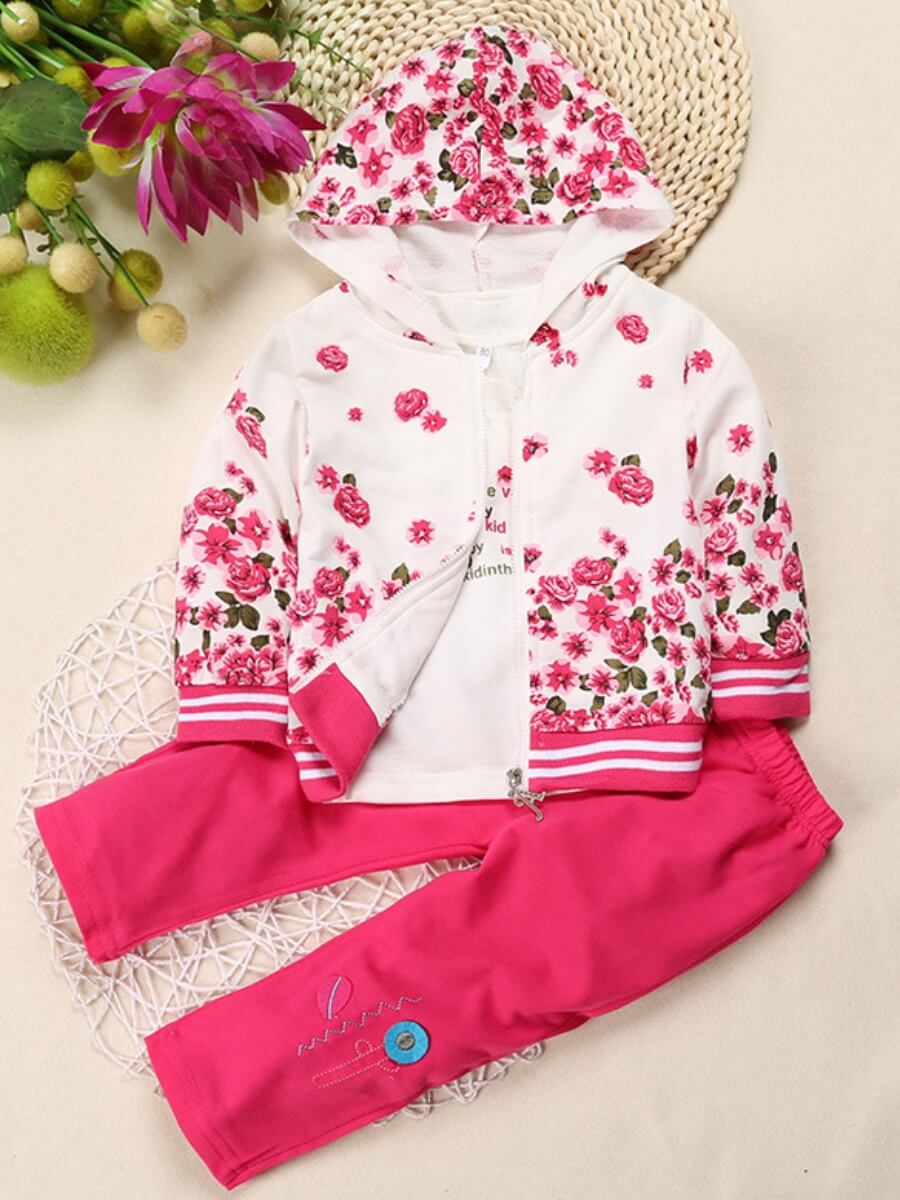 LW Lovely Trendy Hooded Collar Plants Print Rose Red Girl Two-piece Pants Set