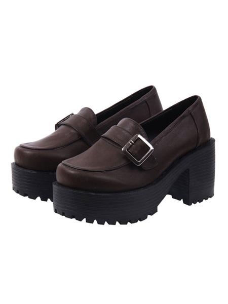 Milanoo Classic Lolita Shoes Square Toe Buckle Platform Brown Lolita Footwear
