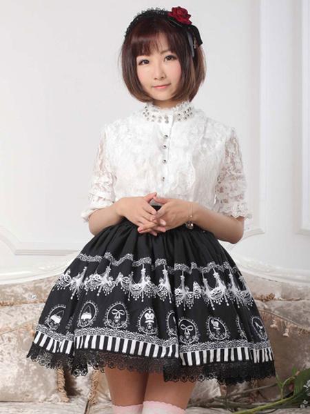 Milanoo Negra falda de Lolita con estampado y volantes