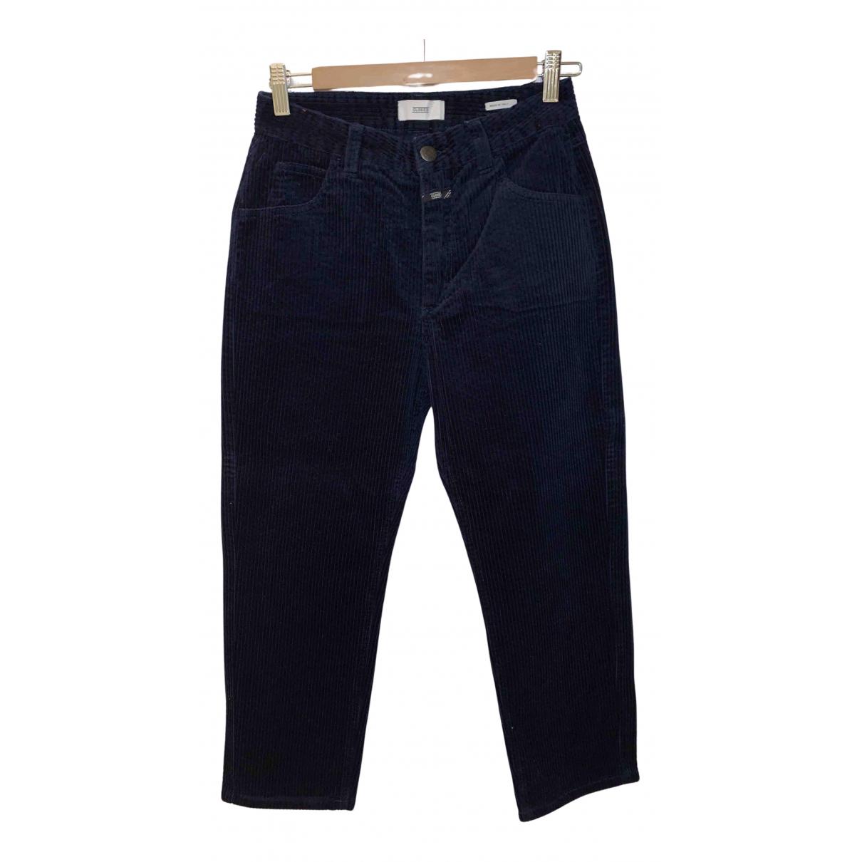Closed N Blue Velvet Trousers for Women 40 IT