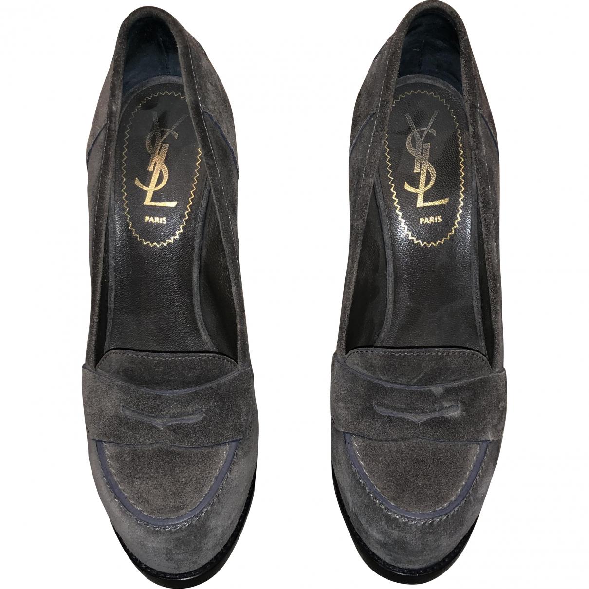 Yves Saint Laurent \N Grey Suede Heels for Women 36 EU