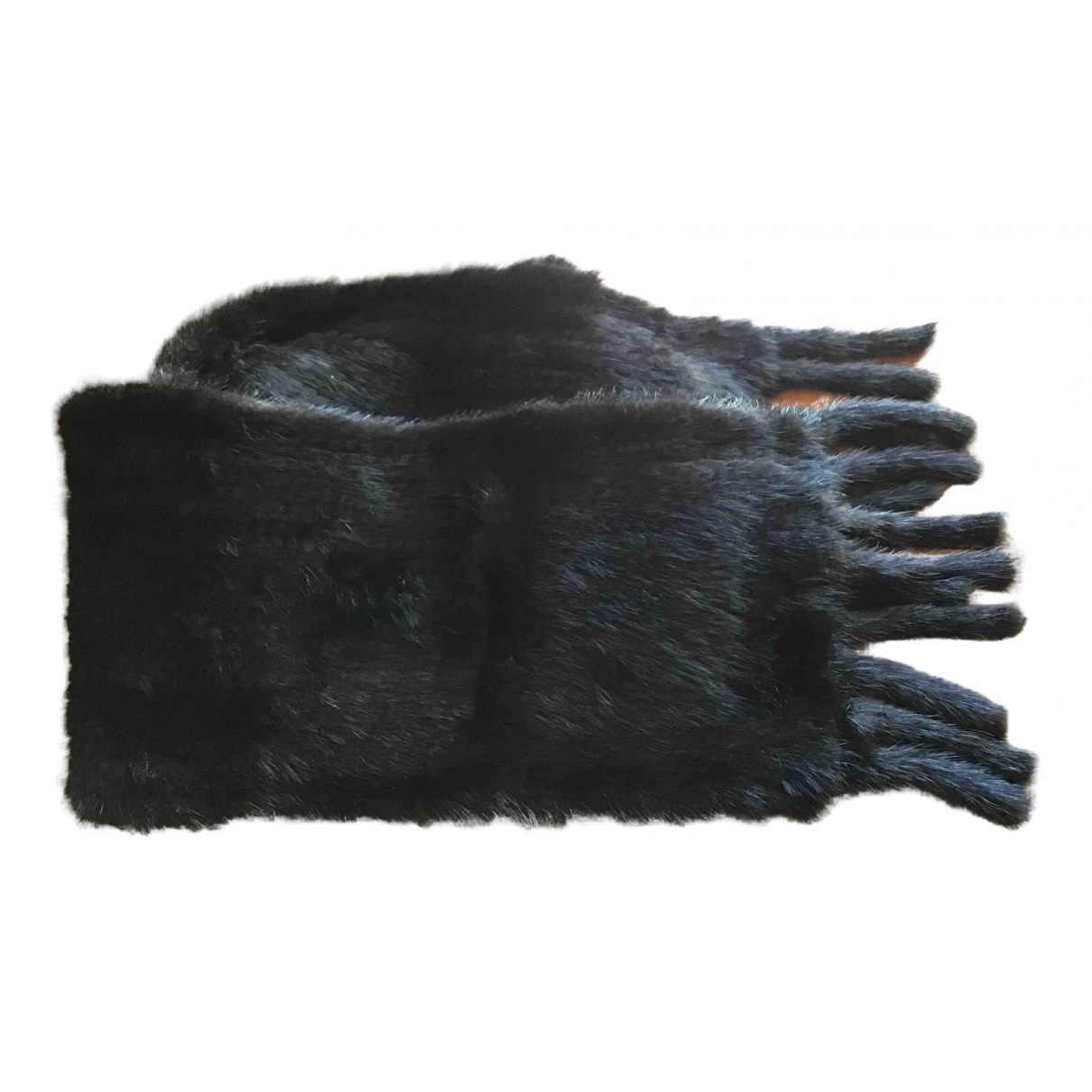Non Signé / Unsigned N Black Mink scarf for Women N
