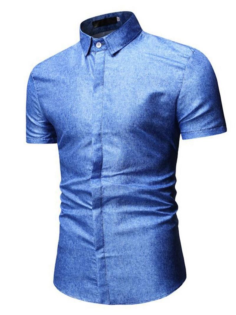 Ericdress Lapel Button Plain Slim Mens Summer Shirt